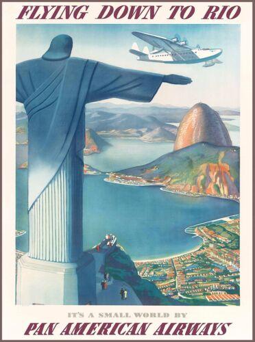 Flying down to Rio de Janeiro Brazil Vintage Travel Art Poster Advertisement