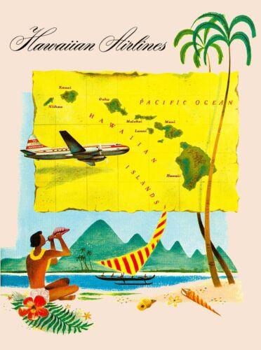 Hawaii Hawaiian Airlines Beach United States America Travel Advertisement Poster