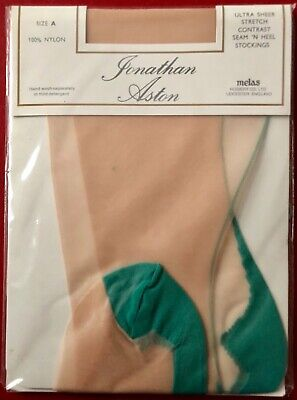 Jonathan Aston Ultra Sheer Stockings Seam N Heel Champagne-Green Size A