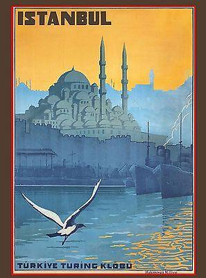 Istanbul Turkey Turkish Turkive Vintage Travel Advertisement Art Poster