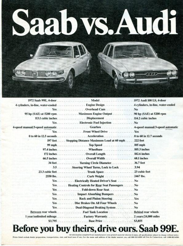 1972 Print Ad of Saab 99E vs. Audi 100 LS