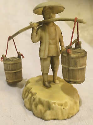 White  Chinese celluloid antique plastic Water Carrier Figurine