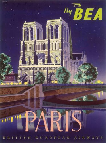 Paris Cathedral of Notre Dame France BEA Vintage Travel Advertisement Poster
