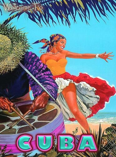 Welcome to Cuba Cuban Girl Beach  Caribbean Vintage Travel Art Poster Print