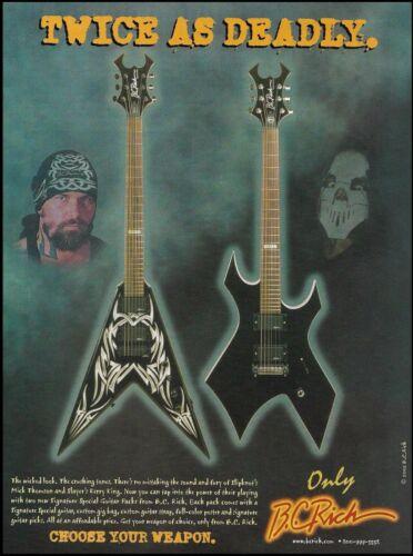Slayer Kerry King & Slipknot Mick Thomson Signature B. C. Rich Guitars 8 x 11 ad