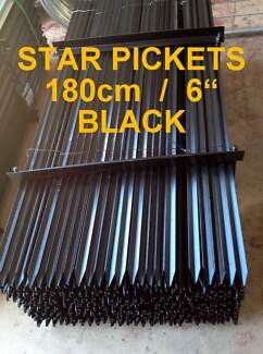Black 1800mm (6') Heavy Star Pickets / Metal Fence Posts $5.50 ea