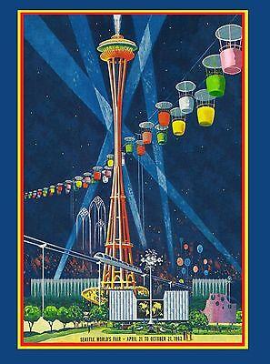 1962 Seattle Washington World's Fair United States Travel Advertisement Poster 4