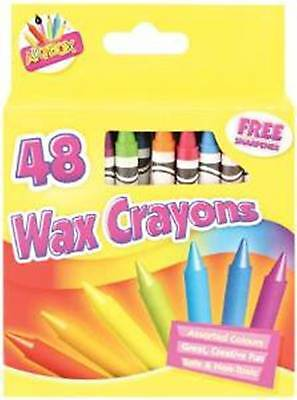 48 Wax Crayons Set with Free Sharpener Assorted Colours School Stationary