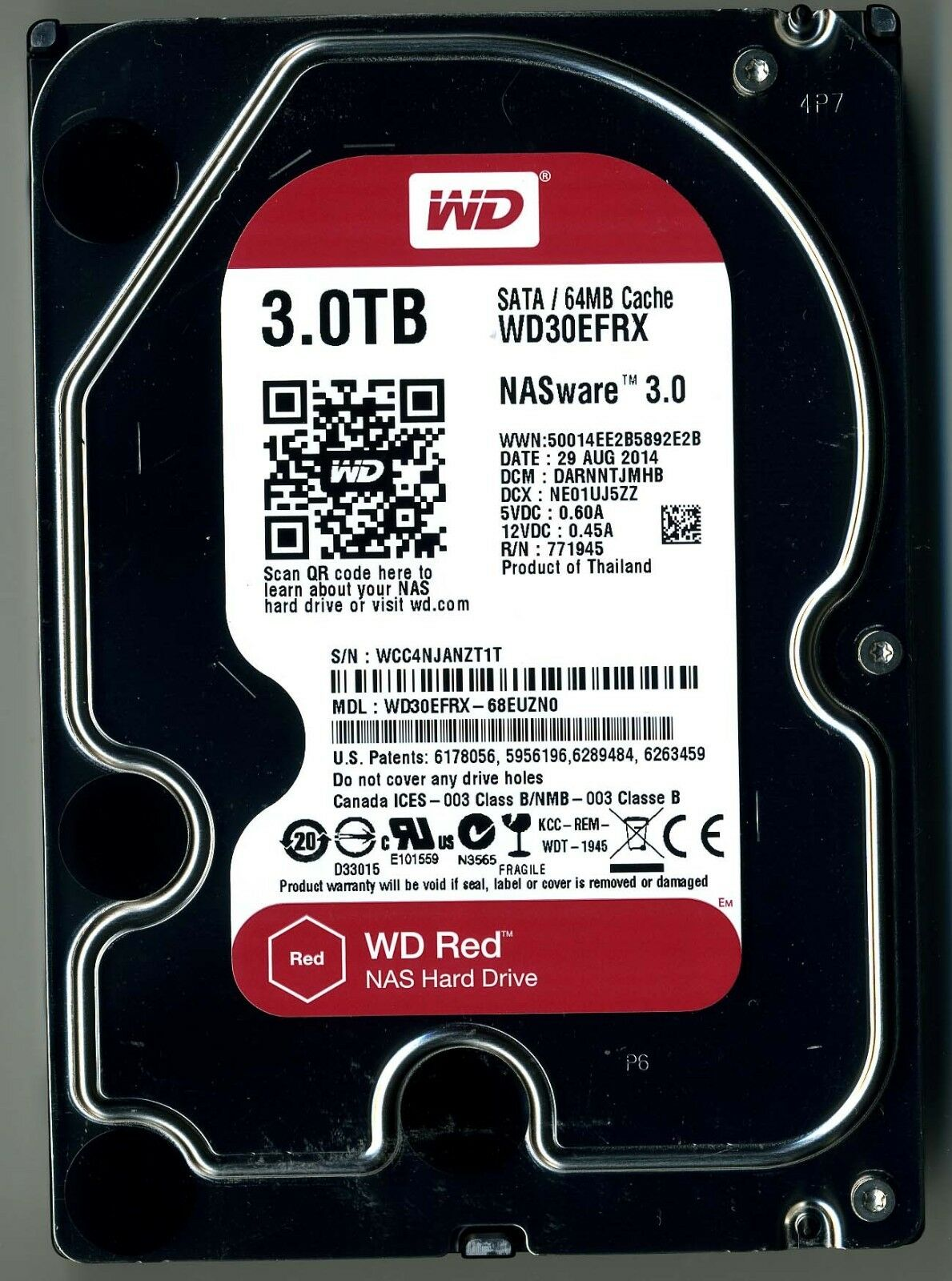 western digital red 3tb sata wd30efrx 68euzn0 dcm darnntjmhb dcx ne01uj5zz 718037799674 ebay. Black Bedroom Furniture Sets. Home Design Ideas