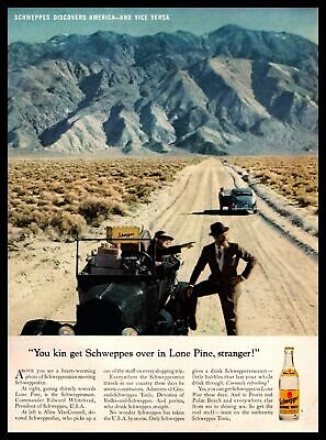 1961 Schweppes Quinine Tonic Water Desert Mountain Dirt Road Vintage Print Ad