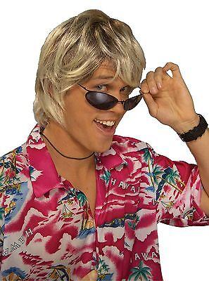 Blonde Surfer Wig (Mens Surfer Wig Dirty Blonde Hair Wavy Bro Hippie Costume Floppy Beach Bum)