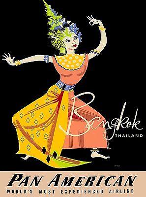 Bangkok Thailand Thai Dancer Asia Pan American Travel Advertisement Art Poster