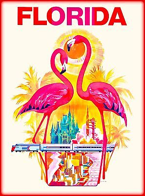 Flamingo Birds Florida United States of America Travel Advertisement Art Poster