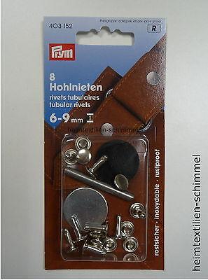 PRYM 8 Hohlnieten Nieten Hohlniete 6-9mm silber 403152