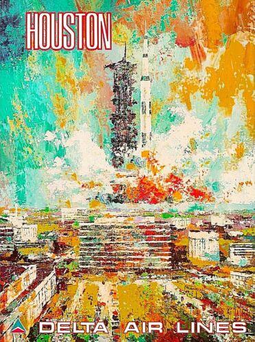 Houston Texas Space Center NASA Vintage Airlines Travel Art Poster Print
