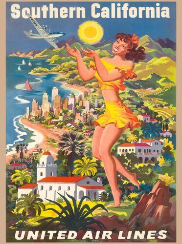 Southern California Beaches Ocean Vintage U.S. Travel Advertisement Art Poster