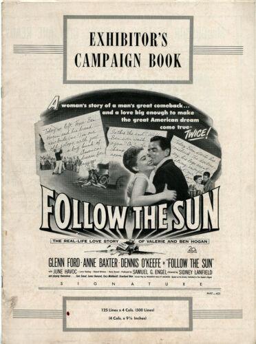 FOLLOW THE SUN (1951) • Glenn Ford Anne Baxter • Uncut Unfolded • +Ad Supplement