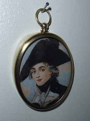 Portrait Miniature of handsome midshipman in hat with cockade in brass frame