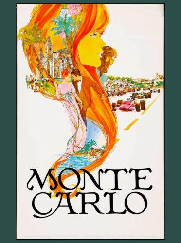 Monaco Monte Carlo Grand Prix French European Travel Art Poster Advertisement