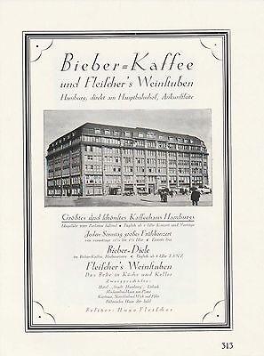 Bieber-Kaffee Hamburg Hauptbahnhof Fleischers Weinstuben Druck von 1926