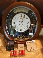 Seiko QXM478BRH Melodies in Motion 12 Hi-Fi LED Lights Pendulum Wall Clock  BLEM