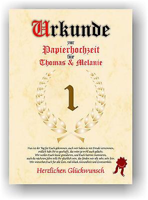 Papierhochzeit Urkunde 1. Hochzeitstag Geschenkidee Liebe Hochzeitsgeschenk NEU ()