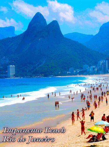 Ipanema Beach Surf Ocean Rio de Janeiro Brazil Travel Advertisement Art Poster