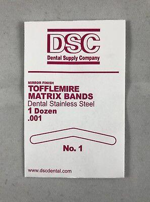 Tofflemire Matrix Bands Size 1 .001 Dental Stainless Steel 144bandspack Dsc
