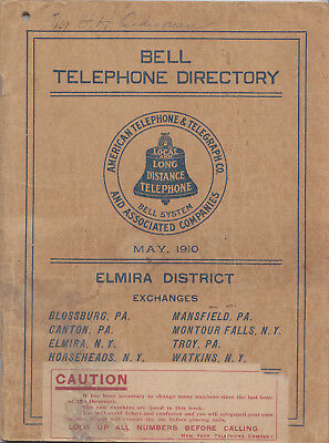 1910 Telephone Directory - Elmira NY area, Tioga / Bradford County, PA for sale  Milton