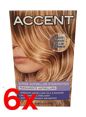 6x Haarfarbe Super Aufheller Strähnchen Permanente Aufhellung - BLOND -