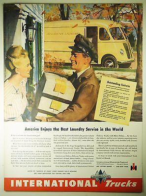 Vintage 1945 INTERNATIONAL HARVESTER DELIVERY TRUCKS Lg Magazine Print Ad