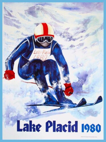 1980 Lake Placid New York Olympic Sports 3 American Travel Advertisement Poster
