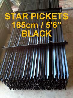 "10 x New Black Steel 1650mm (5'6"") Star Pickets Metal Fence Posts Caloundra West Caloundra Area Preview"