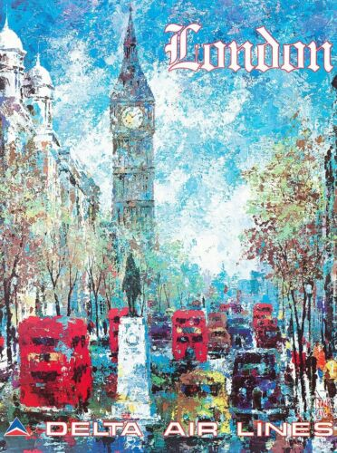 London England Big Ben Europe European Vintage Travel Advertisement Art Print