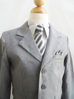 Boys Grey Suit (Winter SALE Special Boys dark grey silver chambray suit matching tie Formal)