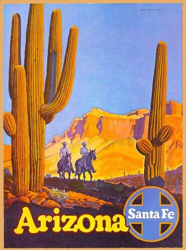 Arizona Santa Fe Railroad United States America Travel Advertisement Poster