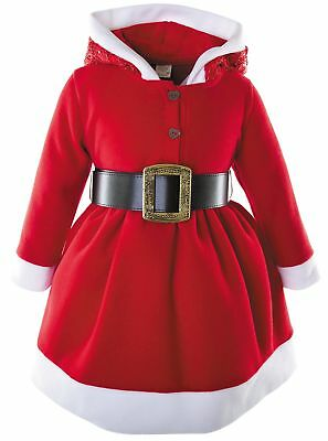 Lilax Little Girls' Holiday Christmas Santa Sparkle Hood Red Dress with Belt 5T