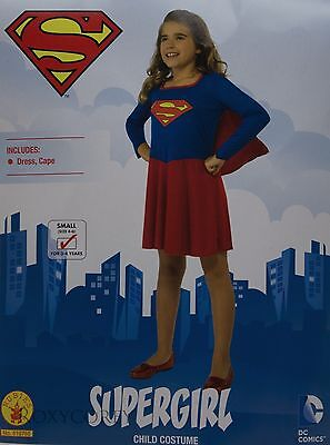 Halloween Girls Supergirl Blue & Red Dress Costume Size Small 4-6 Ages 3-4 NWT - Supergirl Costume Girls