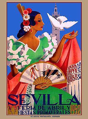 1952 Feria de Sevilla Fair of Seville Spain Vintage Travel Advertisement Poster