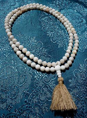 Wonderful Mala Prayer Beads with White Augenachat Agate Healing Stone Nepal