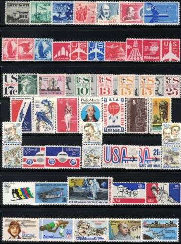 U.S. *MNH* 50 DIFFERENT VINTAGE U S AIRMAIL STAMPS FROM 1947 THROUGH 1985 *MNH*