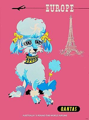 Paris France French Poodle Dog Qantas Eiffel Tower Travel Advertisement Poster