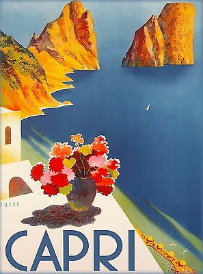 Capri Italy Vintage Italian Europe European Travel Advertisement Art Poster
