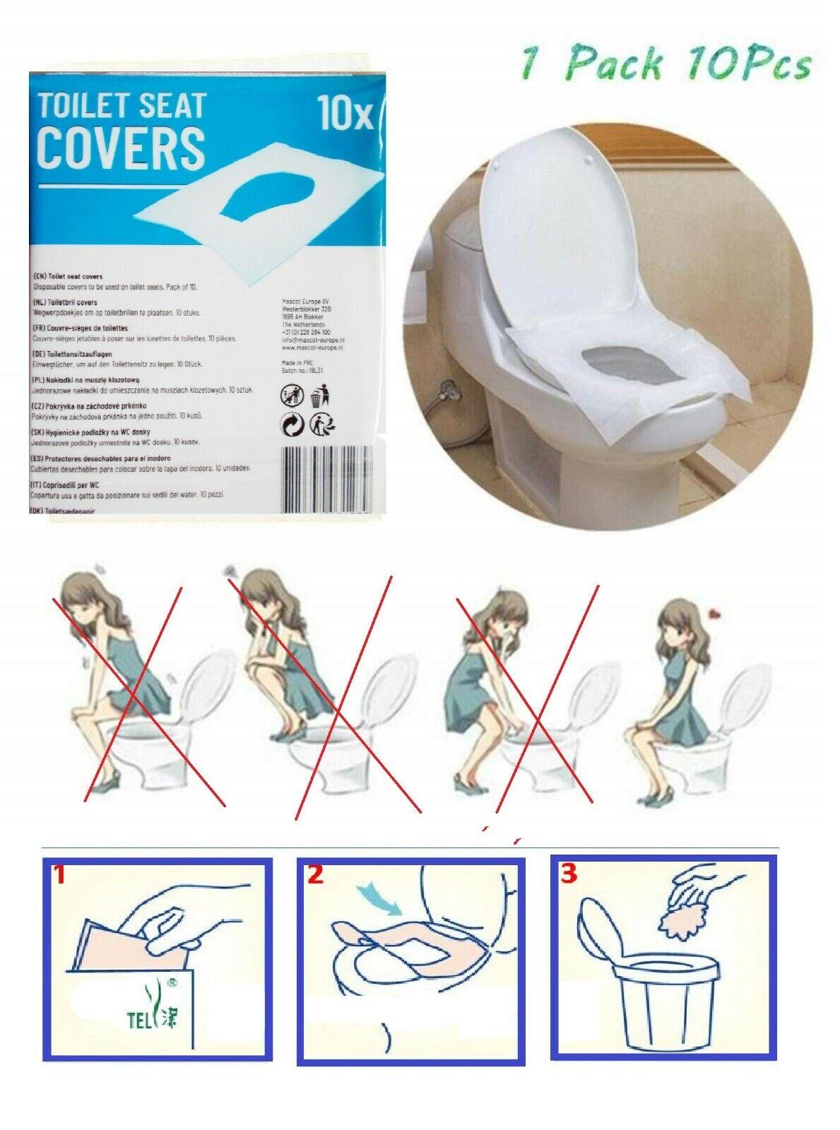 10 x Einweg Toilettensitz Auflage Abdeckung Cover Schutz Papier WC 43 x 35,5 cm