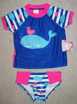 OP Girls Whale Bathing Suit Swim Set Beach RashGuard UPF 50+ Size 2T - Save 2+