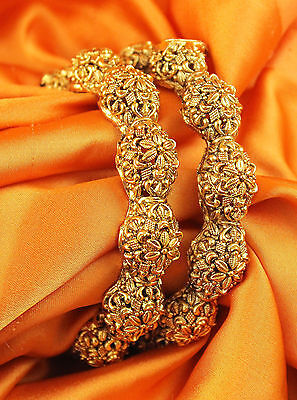 Indian Bollywood Jewellery Polki Beautiful Gold plated Wedding Bangles Set