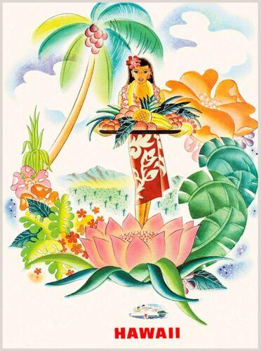 Matson Hawaii Hawaiian Beach Girl Hula United States Travel Advertisement Poster