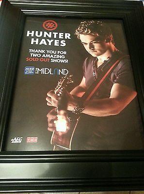 Hunter Hayes Arvest Theater Kansas City Rare Original Framed Promo Ad