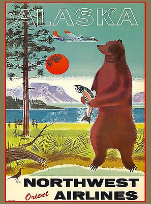 1950's Alaska Bear Vintage United States of America Travel Advertisement Poster