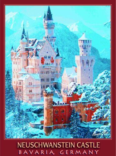 Neuschwanstein Castle Bavaria Germany Europe Travel Art Advertisement Poster